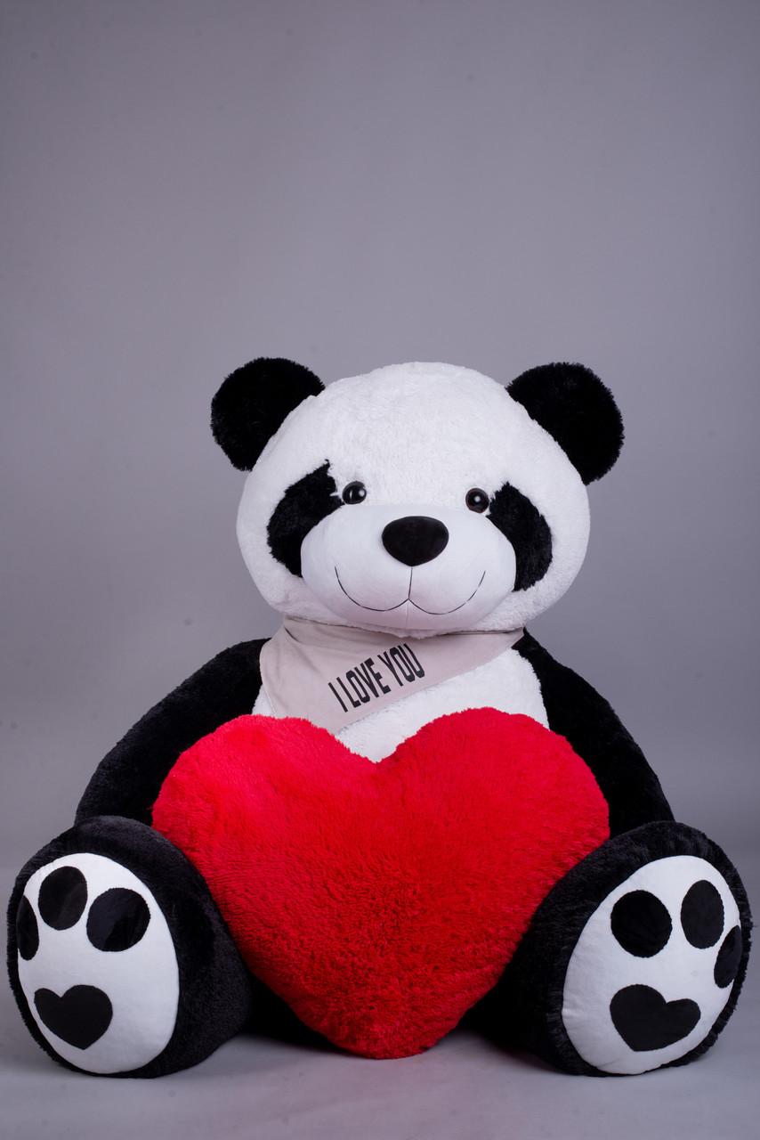 Ведмедик Плюшевий Yarokuz Панда з серцем 2 метра