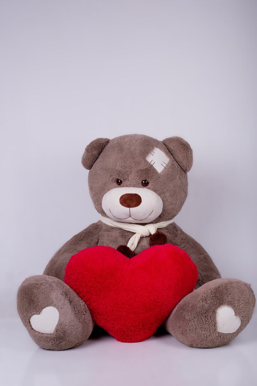 Мишка с латками плюшевый с сердцем Yarokuz Дональд 2 метра Капучино