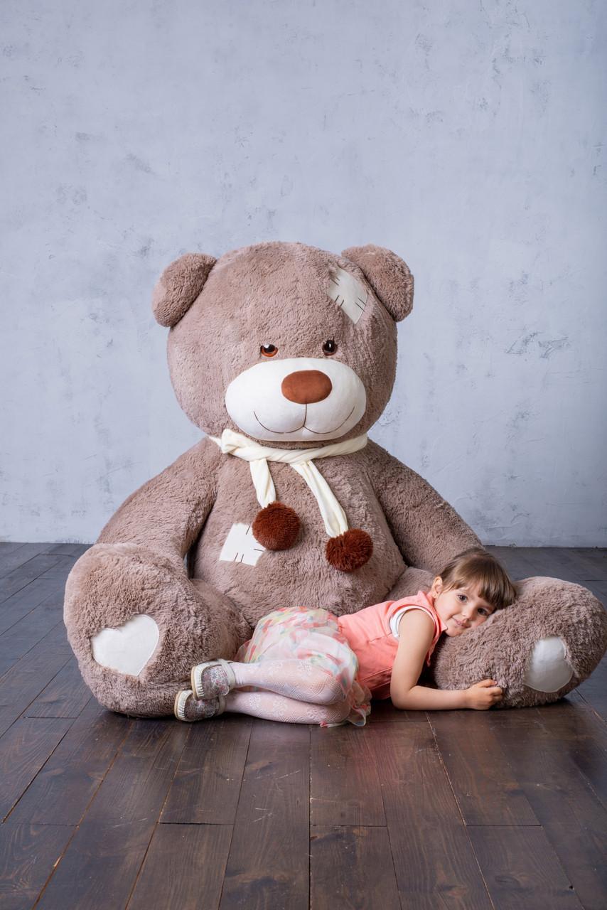Ведмедик з латками Плюшевий Yarokuz Дональд 2 метра Капучіно