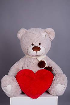 Мишка с латками плюшевый с сердцем Yarokuz Джозеф 140 см Марципан