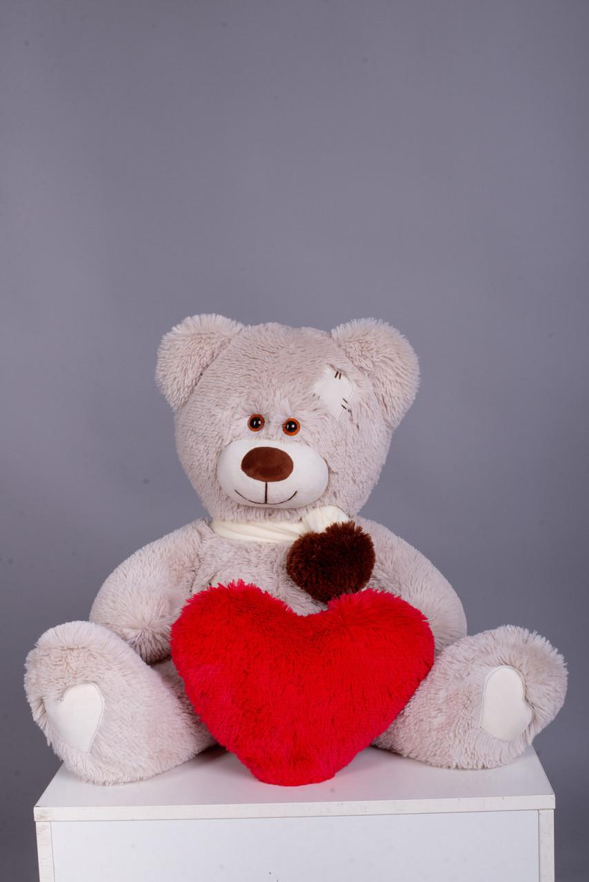 Ведмедик з латками Плюшевий із серцем Yarokuz Уолтер 80 см Марципан