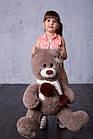 Мишка с латками плюшевый с сердцем Yarokuz Уолтер 80 см Капучино, фото 3