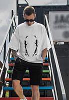 Модная молодежная мужская футболка свободного кроя с крутым рефлективным принтом, белая