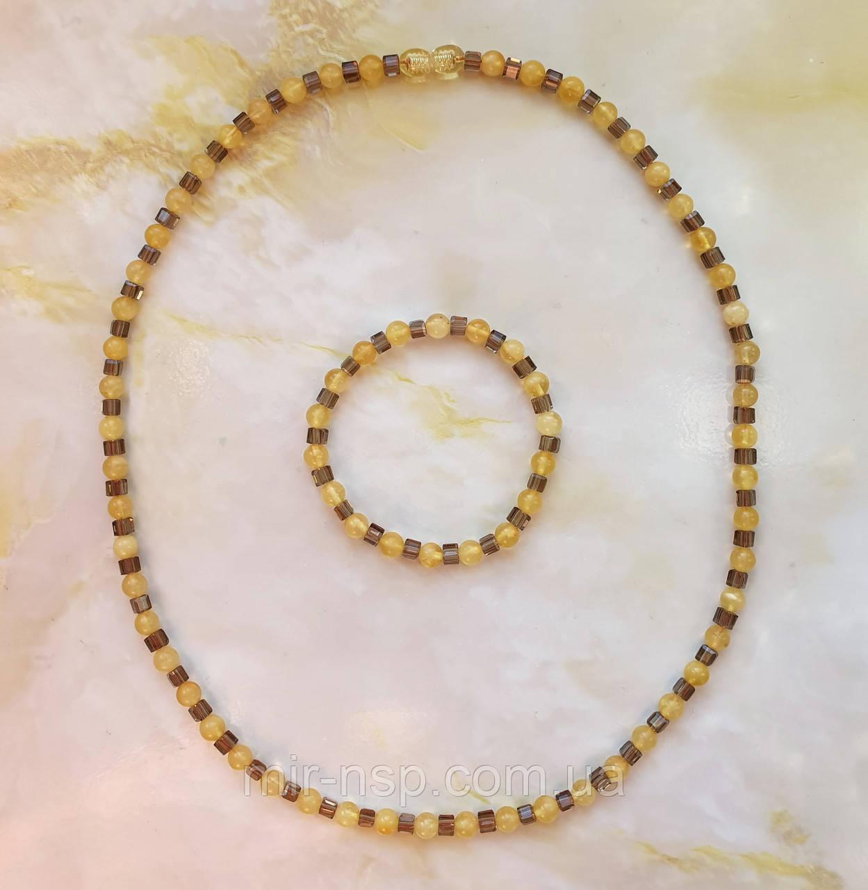 Бусы и браслет 100% натуральный янтарь и чешское стекло вес 20,2г