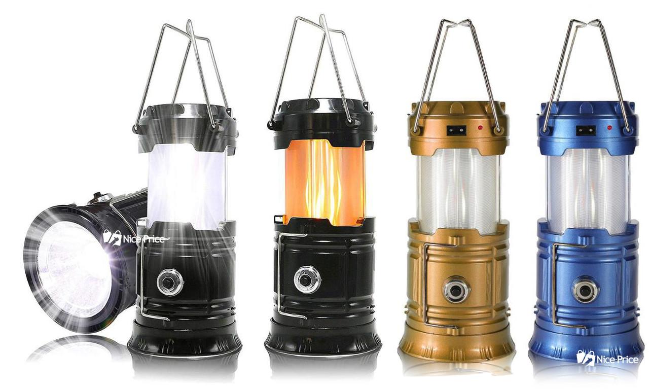 Солнечная кемпинговая LED лампа с эффектом огня Jia Hao JH-5880