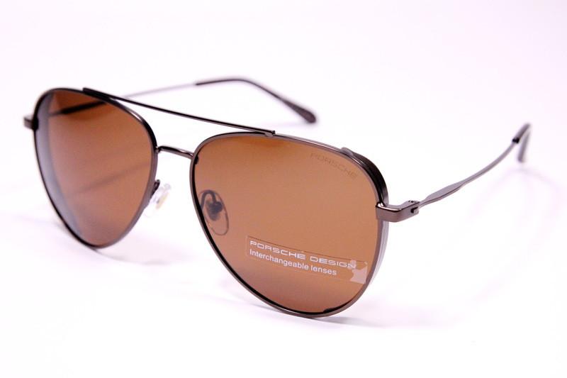 Мужские солнцезащитные очки авиаторы Порше P9067 C4 реплика Коричневые с поляризацией