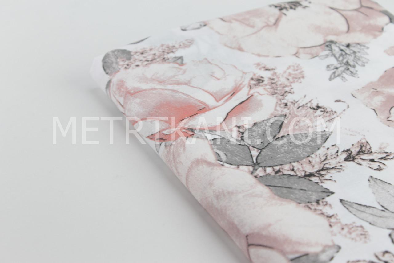 """Лоскуток. Ткань хлопковая """"Цветы с серыми листьями"""" пудровых и бежевых  оттенков на белом, 28*160 см"""