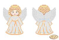 Cхема на ткани для вышивки бисером Ангелочек в золотом В-001