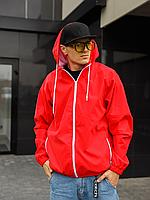 Красная ветровка мужская из плащёвки с напылением soft-touch   Украина