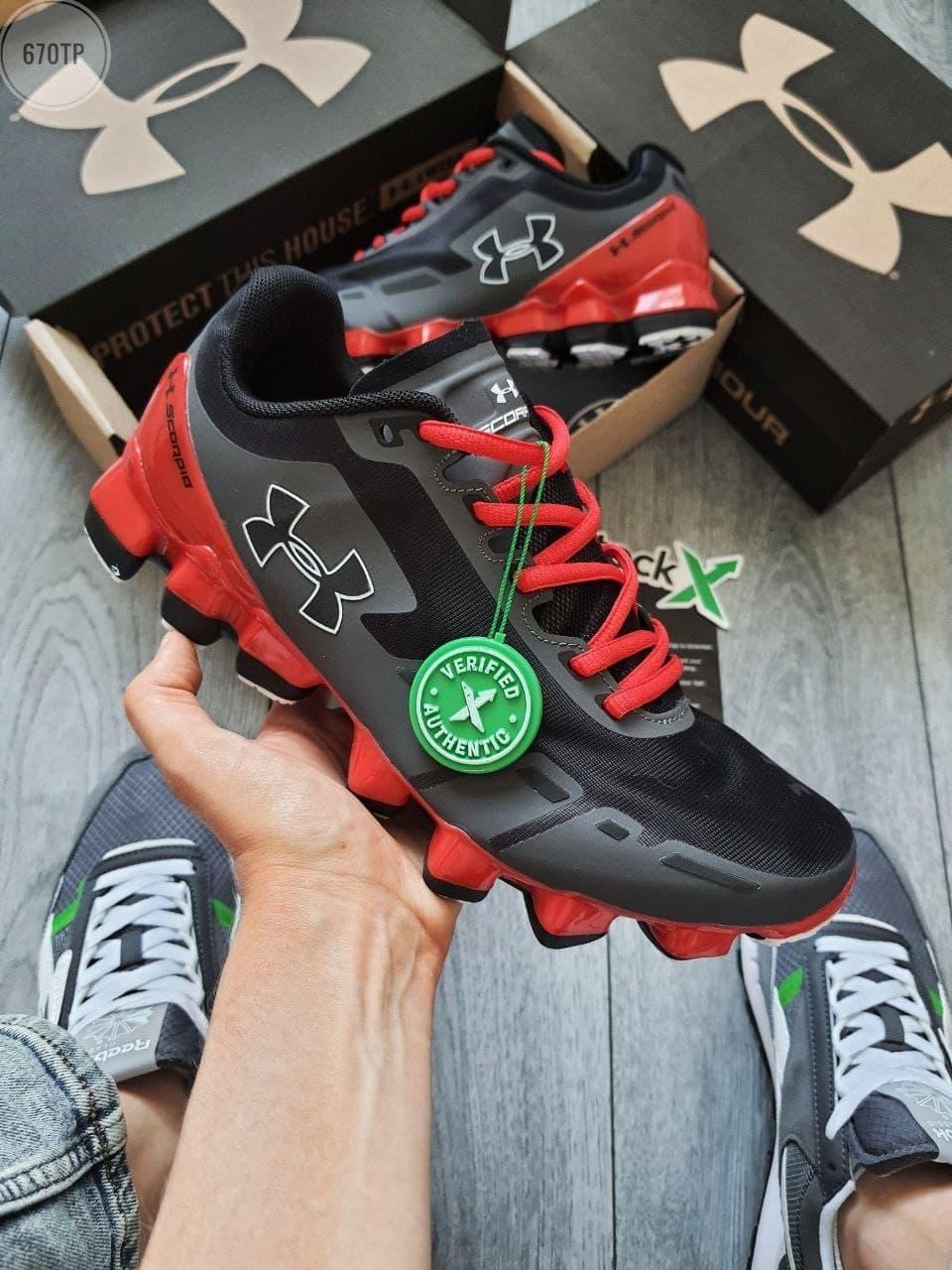 Чоловічі кросівки Under Armour Scorpio Running shoes (чорні з червоним) повсякденна модне взуття 670TP