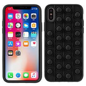 Чохол антистрес Pop It для iPhone X силіконовий, Bubble, Чорний
