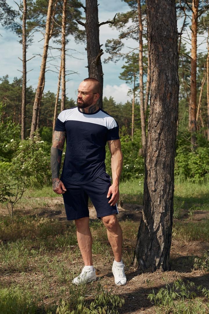 Комплект мужской летний футболка + шорты, спортивный костюм мужской летний черный Денвер