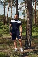 Комплект мужской летний футболка + шорты, спортивный костюм мужской летний черный Денвер, фото 1