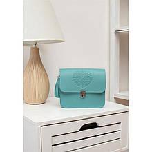 Кожаная женская бохо-сумка Лилу бирюзовая