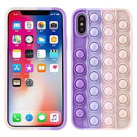Чохол антистрес Pop It для iPhone X силіконовий Поп Іт, Bubble, Фіолетовий