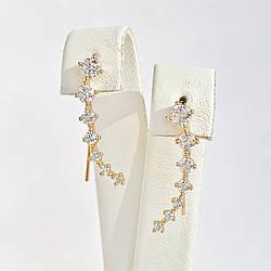 Сережки Xuping з медичного золота, білі фіаніти, позолота 18K, 25461