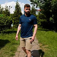 Футболка поло Puma мужская , синяя на молнии