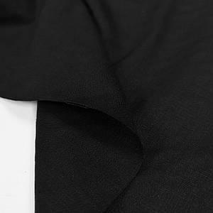 Ткань лен стрейч черный