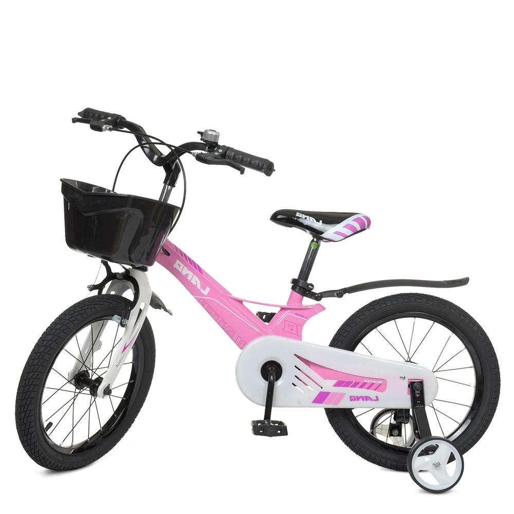 Детский двухколесный велосипед, колеса 16 дюймов, доп колеса, магниева