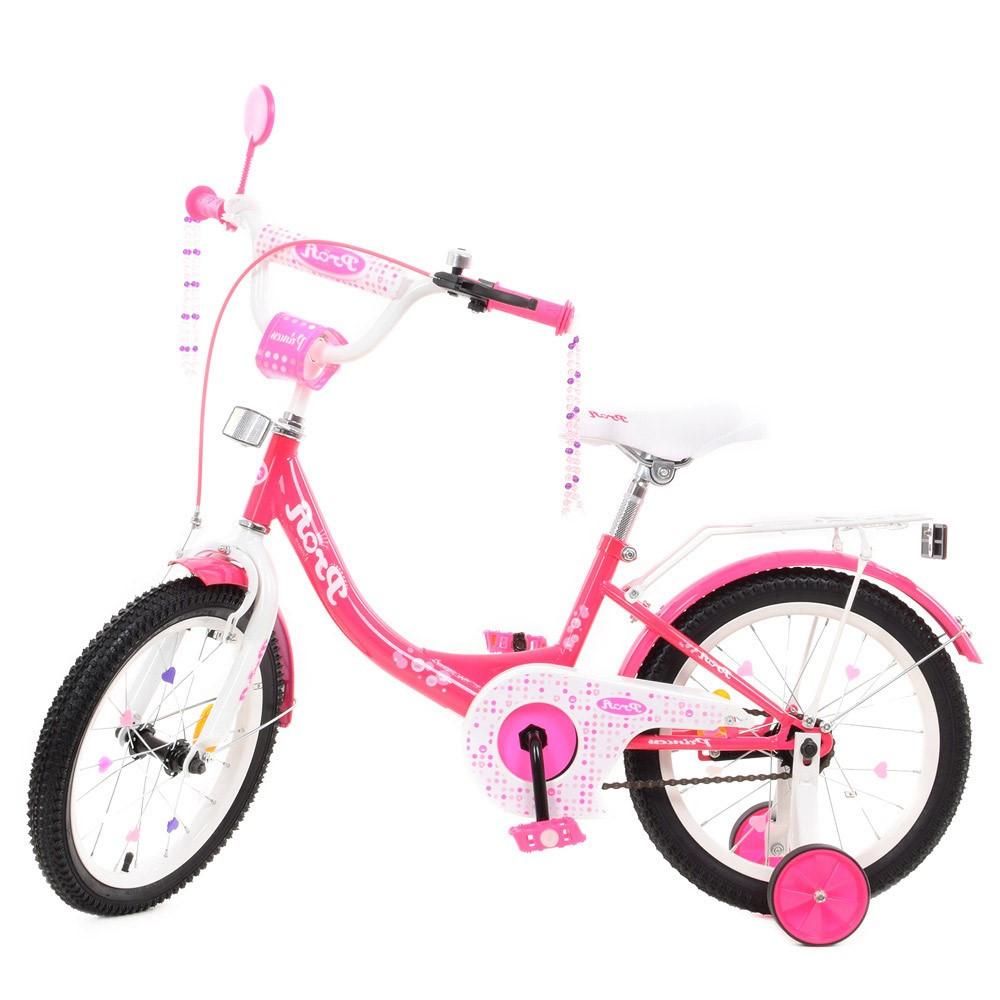 Дитячий двоколісний велосипед, колеса 16 дюймів, сталева рама, ліхтарик, доп колеса, PROF1 Y1613-1 Princess