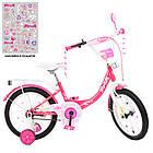 Дитячий двоколісний велосипед, колеса 16 дюймів, сталева рама, ліхтарик, доп колеса, PROF1 Y1613-1 Princess, фото 2