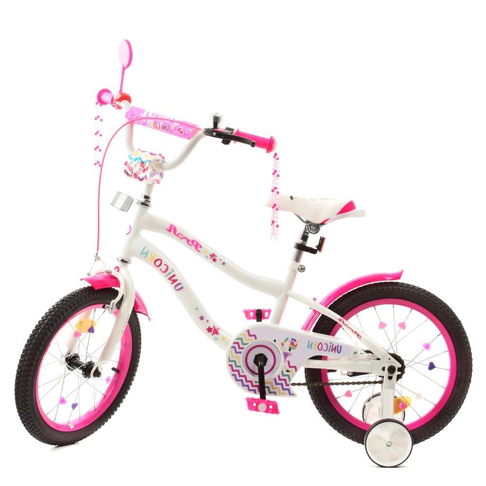 Дитячий двоколісний велосипед, колеса 18 дюймів, сталева рама, дзеркало, дзвінок, PROF1 Y18244 Unicorn