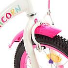 Дитячий двоколісний велосипед, колеса 18 дюймів, сталева рама, дзеркало, дзвінок, PROF1 Y18244 Unicorn, фото 4