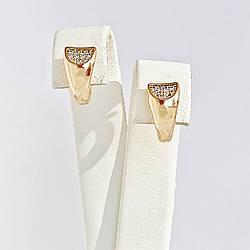 Сережки Xuping з медичного золота, білі фіаніти, позолота 18К, 25088