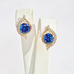 Сережки Xuping з медичного золота, білі і блакитні фіаніти, позолота 18К, 25458