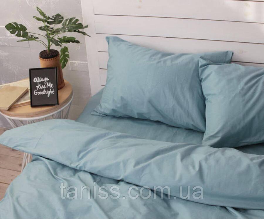 Двоспальний набір постільної білизни Бязь Голд, колір як на фото, темно-блакитний