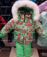 Детский зимний костюм на овчине-подстежке (от 6 до 18 месяцев) салатовый в цветочек