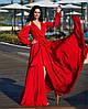 Платье Длинное Шёлковое Красное женское Вечернее