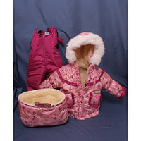 Детский костюм-тройка (конверт+курточка+полукомбинезон) для девочки Розовые мишки