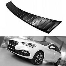 Захисна накладка на задній бампер для Seat Leon Mk4 Sportstourer 2020+ /чорн.нерж.сталь/
