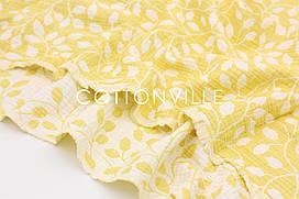4-шаровий жакард-муслін двосторонній Гілочки на жовтому 130 см