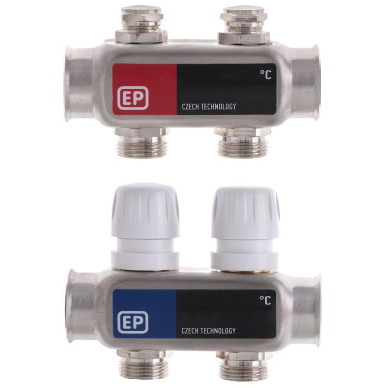 """Коллекторный блок с термостат. клапанами EUROPRODUCT EP.S1100-02 1""""x2 (EP4989)"""