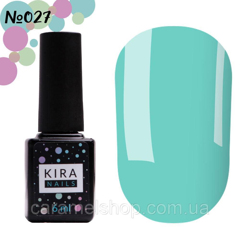 Гель-лак Kira Nails №027 (голубой, эмаль), 6 мл