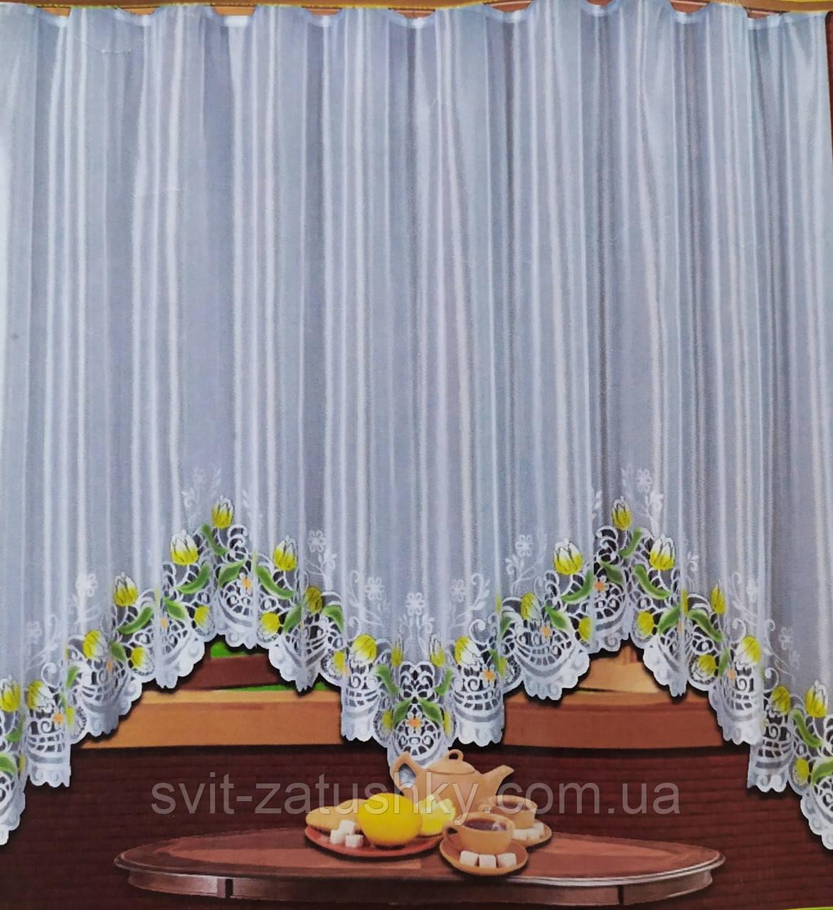 Готова біла штора арка з тюльпанами на кухню, столову, коридор.