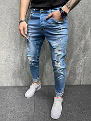Чоловічі джинси завужені (блакитні) рвані молодіжні s6342