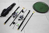 Спиннинги 2,1м с катушками в Сборе 2шт Универсальный рыболовный набор + подсак, садок, подставки