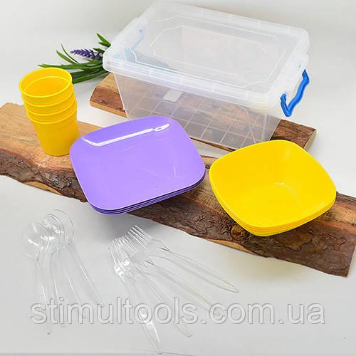 Набір пластмасового посуду Stenson для пікніка на 4 персони 21 предмет