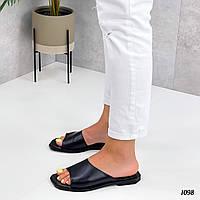 Жіночі шкіряні шльопанці, квадратний носок, фото 1