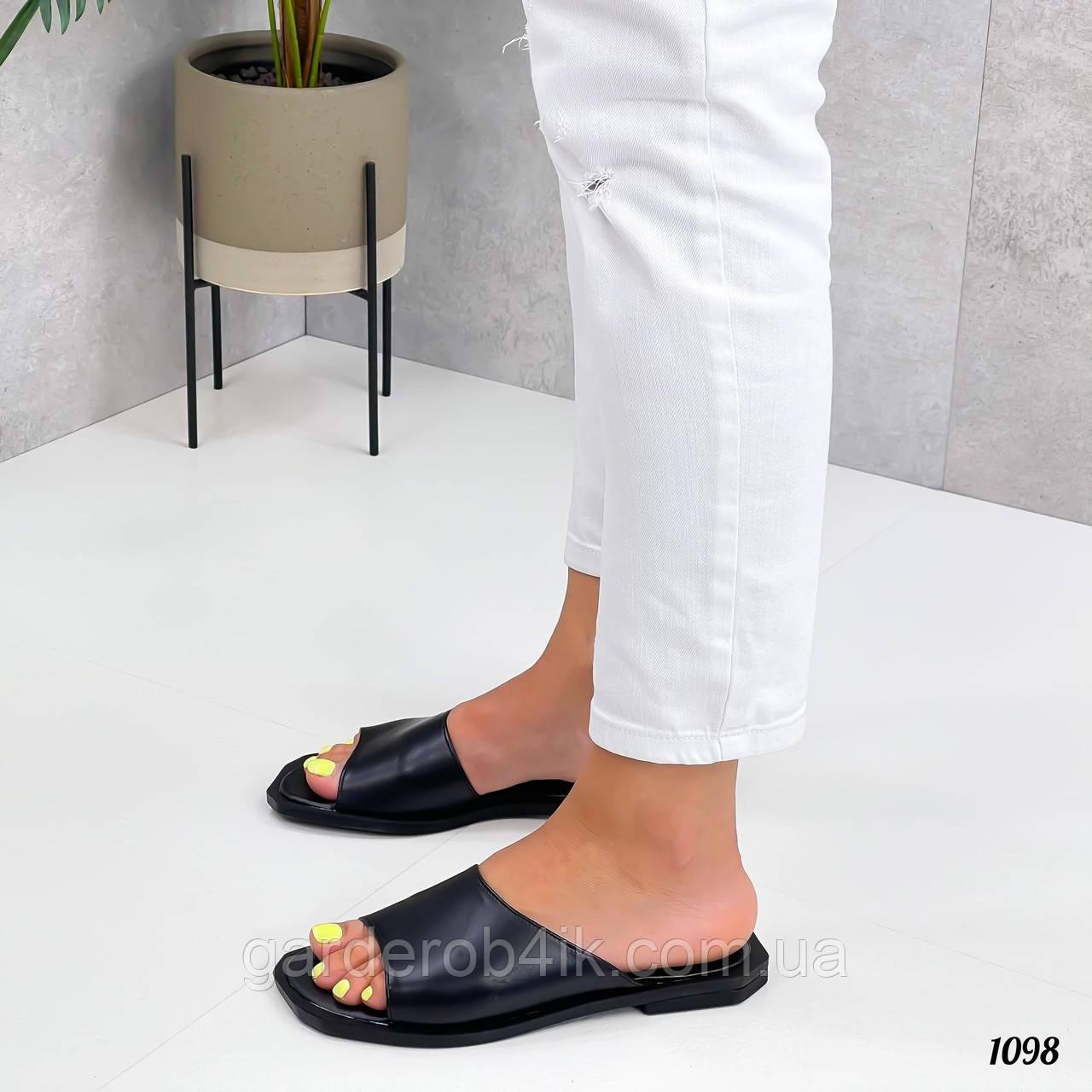 Жіночі шкіряні шльопанці, квадратний носок