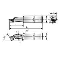Резец расточной (тип1) для обработки сквозных отверстий 0004 (16х16х170) ВК8