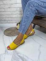 Женские яркие босоножки из натуральной замши. Цвет желтый. Размеры 36-41, фото 1