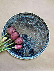 Набор 6 больших обеденных керамических синих тарелок Лазурит 27 см