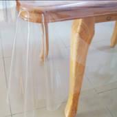 Прозрачная клеенка для защиты тканевой скатерти, деревянных столов, подоконников, фото 2