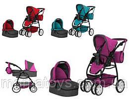 Кукольная коляска Трансформер Melobo 9662 с сумкой, 2 сменные люльки, 3 цвета