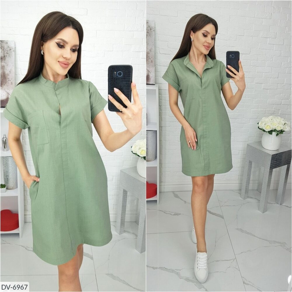 Платье лен миди с коротким рукавом