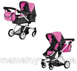 Кукольная коляска Трансформер Melobo 9651B ROSE RED 2 в 1 с сумкой Розовая